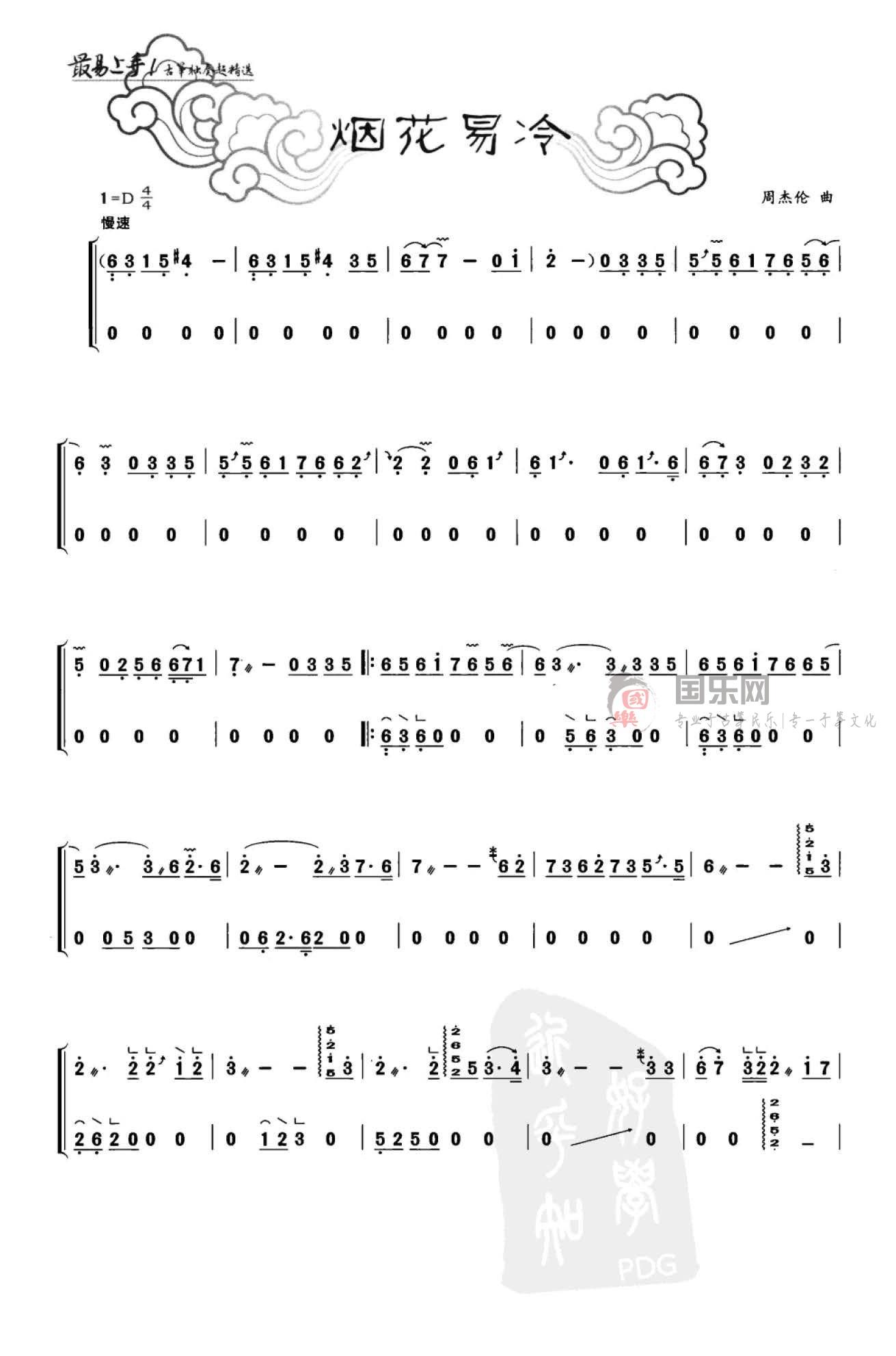 《烟花易冷》变化音4和7、滑音、摇指