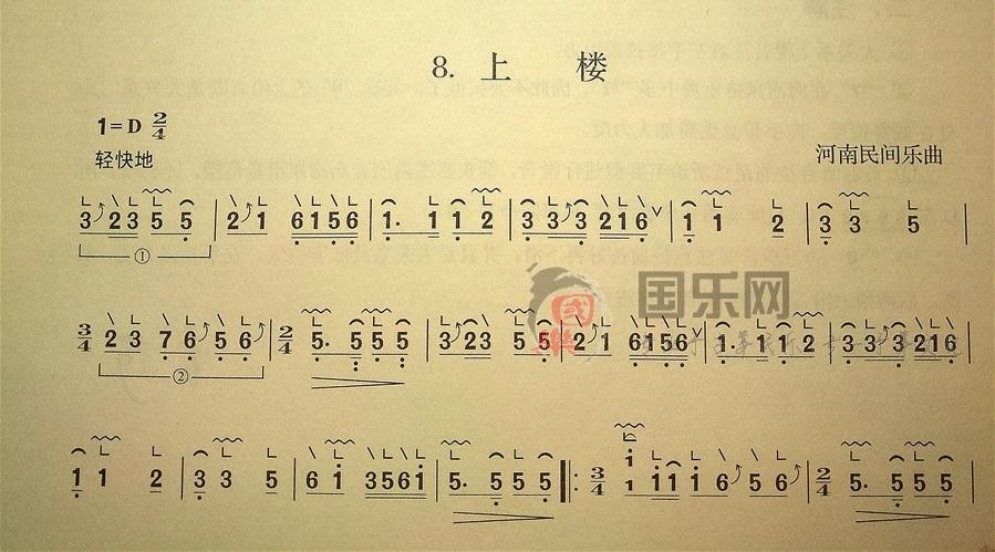 古筝考级曲谱(一级)《上楼》