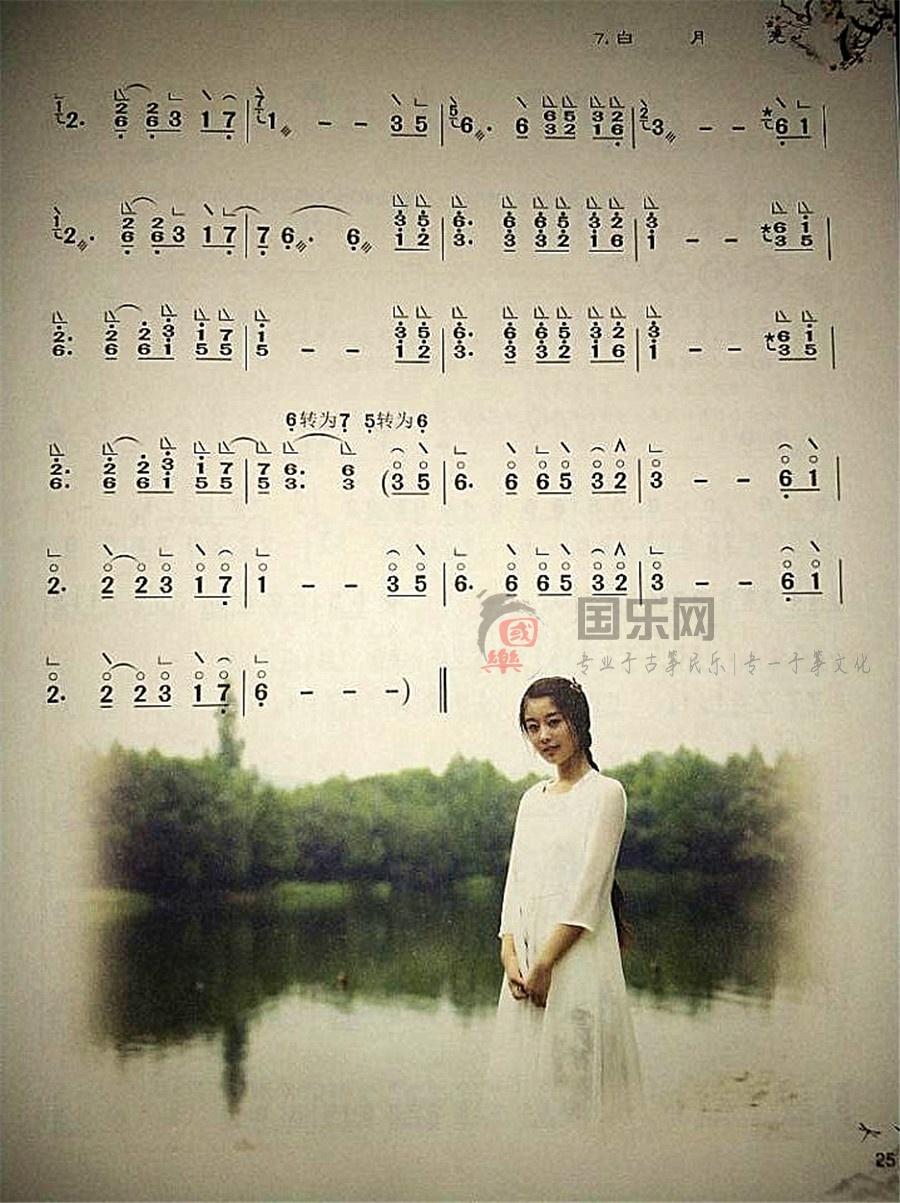 【白月光古筝曲谱】-玉面小嫣然