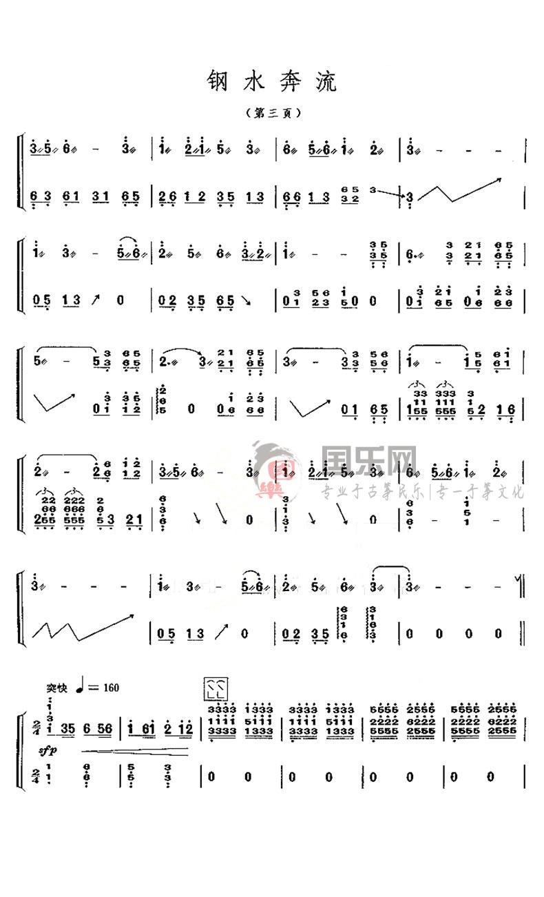 古筝考级曲谱(十级)《钢水奔流》