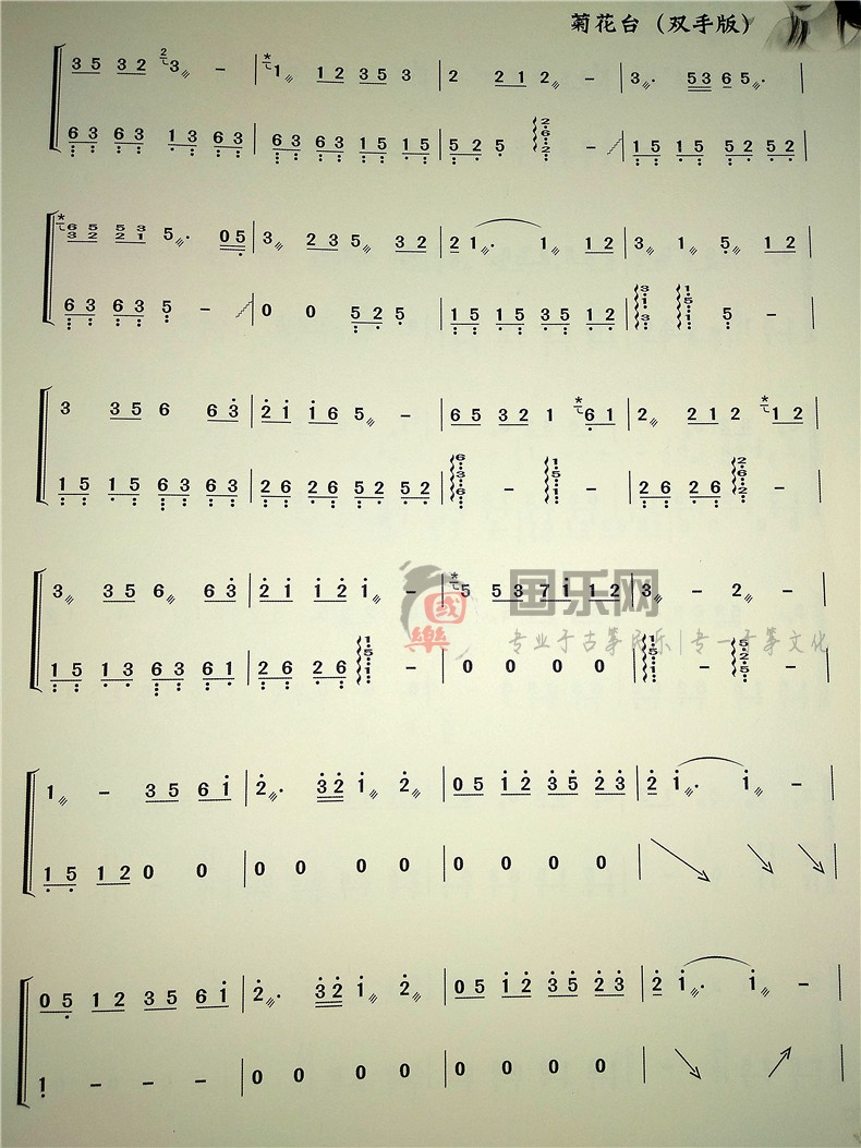 【菊花台(双手版)古筝曲谱】-玉面小嫣然